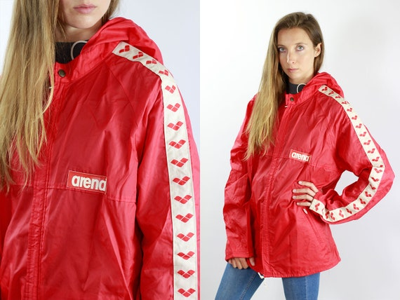 Red Festival Jacket Shell Jacket Vintage Rain Jacket Arena Jacket Festival Windbreaker Red Jacket Women Raincoat Vintage Raincoat Arena Tape