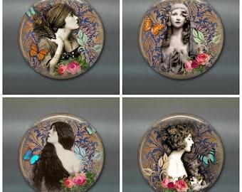 "3.5"" vintage women magnets, fashionable ladies magnets, , set of 4 magnets, kitchen decor, large fridge magnet"
