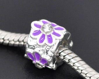 Purple Fleur Émail beads