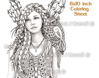 Fairy and Owl - Fairy Tangles Printable Coloring Sheets & Coloring Pages by Norma J Burnell Fairies Owls for Adult and Digital Coloring