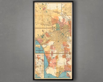 LOS ANGELES Map, City Map of LA California, Hollywood Map, Beverly Hills Map, Santa Monica Map, Map of Los Angeles, Wall Map, Large la Map