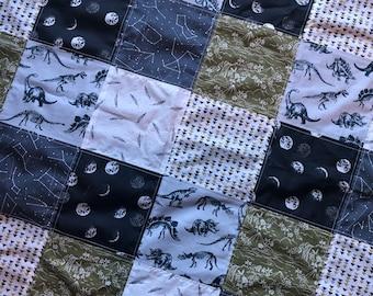 Baby Quilt- Dinosaurs- Baby Rag Quilt- Crib Quilt- Baby Quilt- Crib Bedding- Dinosaur Theme- Minky Blanket- Patchwork