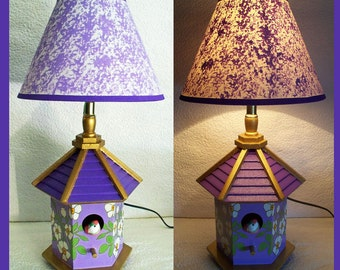 Lilac Birdhouse Nightlamp with Shade, Matching Lampshade, Nightlight, Hexagon shape Lamp, Hand Painted, Table Lamp, Decorative Lighting