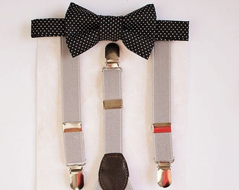 Boys Black Bow Tie Grey Suspenders, Toddler Bow Tie, Wedding Bow Tie, Ring Bearer Outfit, 1st Birthday Boy, Wedding Gift, Boys Birthday Gift
