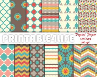 Vintage digital paper pack, Chevron, Quatrefoil, Floral, background pattern Printable Scrapbook paper, Personal / Commercial Use (v01)