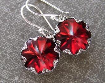 Garnet Red Earrings, Sterling Silver, Swarovski Deep Red Crystal Earrings, Red Dangle Earrings, Red Drop Earrings, January Birthstone