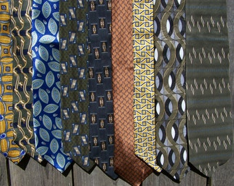 Collection of 9 Vintage Ties - Earthy Grouping