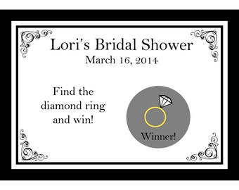 24 Personalized Bridal Shower Scratch Off Game Cards - Classic Black Design