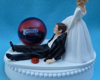 Wedding Cake Topper Cleveland Cavaliers Cavs Basketball Themed w/ Bridal Garter Humorous Sports Fans Bride Groom Funny Drags Pulls Sporty