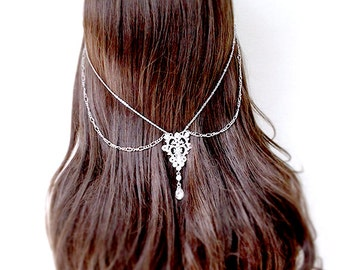 Hair chain Silver bridal hair jewelry gold chain headpiece statement wedding crown wedding head chain beach wedding prom bridesmaid back