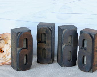 Vintage Wood Letterpress Block Number 6  or 9 - SOLD INDIVIDUALLY, Vintage Wooden Letterpress Number Six or Nine, Vintage Typeset Number 6/9