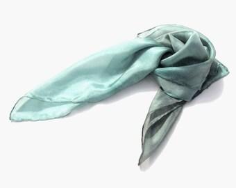 Smoke Aqua hand dyed silk scarf ombre light grey blue headband