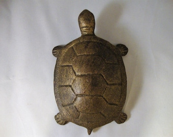 Vintage BRASS TURTLE Jewelry Cover Solid Brass Turtle Figurine Key Cover Vintage Solid Brass Made in India Heavy Solid Cast Brass Turtle