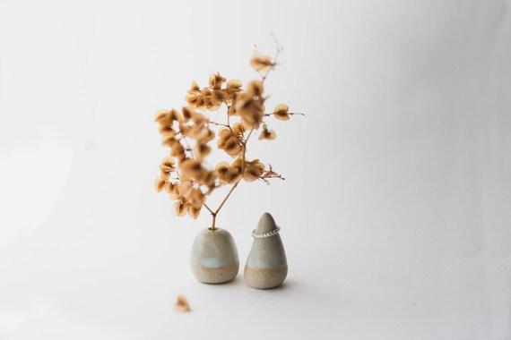 Stoneware Vase & Ring Cone Pair in Ice Dip
