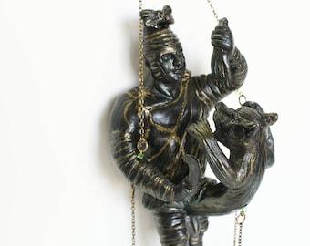 Ceramic handmade talisman, Roman, gladiator fighting  a phallus-lion, fascinum, Hanging phallic charm, home decoration gift