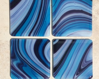 Fused Glass Coasters Blue Aqua Swirl (set of 4)