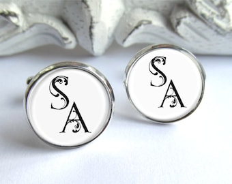 Custom Cufflinks, Personalized Gift For Him, Monogram Cufflinks
