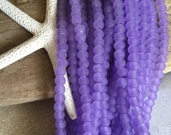 4 mm Sea Glass Beads  50 PC Beach Glass  Round cultured seaglass bead  purple periwinkle recycled glass frosted lavender tumbled glass beads