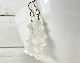 White Moonstone Earrings, Long Stone Chip Earrings, Semi-Precious Gemstone Earrings, Gold Filled Earrings, Natural Boho Bohemian Jewelry