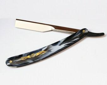Straight Razor Cut Throat Razor Black Marble