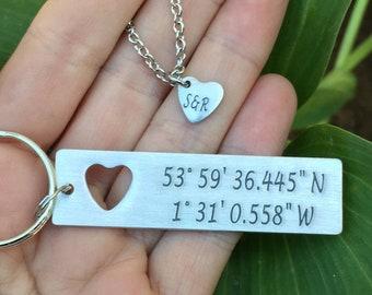 Latitude Longitude Keychain, Personalized Keychain, GPS keychain, Hand Stamped KeyChain, Custom Coordinates Keychain, Gift for her