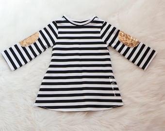 Black and White Stripe Dress / A-Line Dress / Girls Dress / Baby girl Dress / Jersey Knit / 1st Birthday Dress / 2nd Birthday Dress