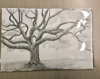 Oak tree original drawing