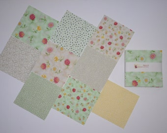 """Pastel Colors Victorian Floral Charm Pack Quilt Fabric 54 pieces - 5"""" squares for Craft Sewing Project, Quilt - FREE SHIP to USA"""