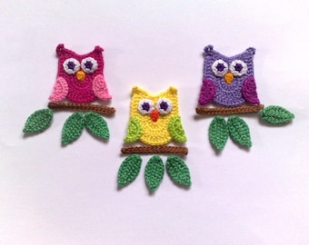 Crochet owl Applique  Embellishments Crochet Applique Leaf Owl embellishment Crochet bird applique