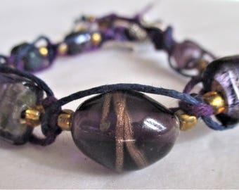 Deep Purple, Women's Braided and Beaded Bracelet