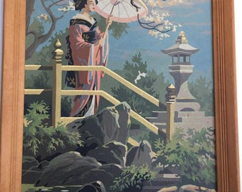 Vintage Paint by Number Geisha Girl in Garden with Umbrella Framed Asian Art 1960s PBN