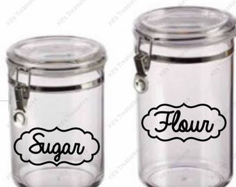 Kitchen Canister Label - Scripted - Vinyl Decal - Customizable Labels - Ready To Apply Labels - Any Word - Any Language