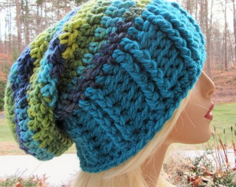 Slouchy Beanie, Boho, Slouch Hat, Crochet Hat, Chunky Slouch Hat, Blue, Gift for Her, Winter Accessory, Hair Accessory, Handmade