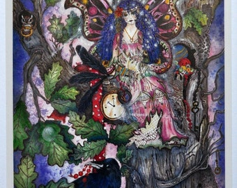Print of fairy gypsy in oak tree with crow, chipmunk and frog