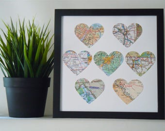 Framed Map Hearts - 7 or 8 Maps - Choose Your Maps - Square Black Frame - Map Art - Heart Maps - Travel, Anniversary or Wedding Gift