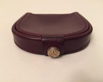 Coin shape half moon leather mahogany color
