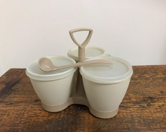 Vintage Tupperware Condiment Caddy/Server with Spoon 757, 758 and 733