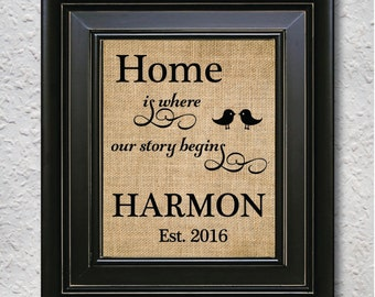 """Burlap Wall Art - """"Home is where our story begins"""" , Family Art Sign, Wall Hanging, Home Decor, Wedding/Anniversary Gift - Burlap print 1Q"""