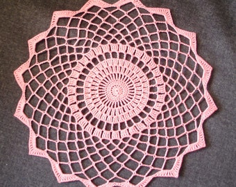 "New Handmade Crocheted ""Elegance-Small"" Doily in Coral - 10"""