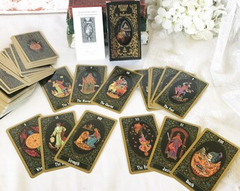 Vintage Russian Tarot of St. Petersburg Cards Deck Set, 1992 Fortune Telling Cards, Astrological book, Halloween Games, Playing Cards,