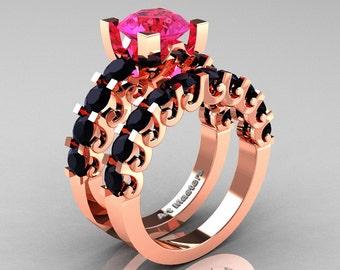 Modern Vintage 14K Rose Gold 3.0 Ct Pink Sapphire Black Diamond Designer Wedding Ring Bridal Set R142S-14KRGBDPS