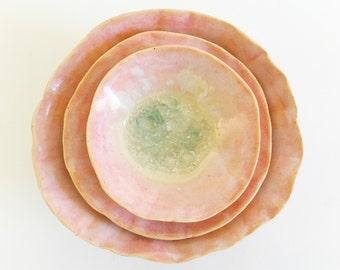 Ceramic Nesting Bowl Set With Crackle Glaze Center, Rose Quartz Pink Decor