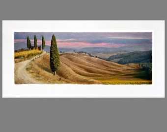 Any Tuscan 22 x 46  Matted Panoramic Fine Art Print (Four Cypress shown)