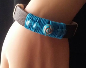 Dark Brown Leather bracelet w/ring