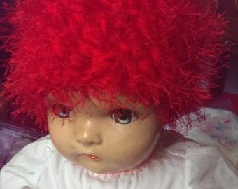 Fuzzy Red Child's Crochet Hat