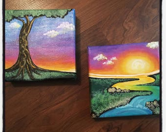 Whimsical Acrylic Paired Technicolor Landscape Painting Sunrise with Winding River