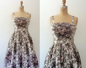 1950s dress / 1950s cotton dress / Blurred Rose dress