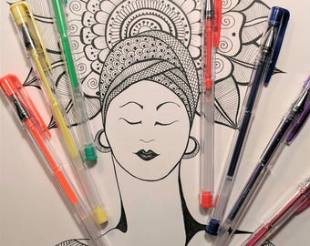 Printable Coloring Page -  Coloring Pages - The Goddess Kimya INSTANT DOWNLOAD