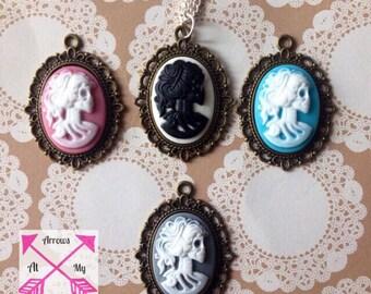 Skeleton cameo necklace, Skeleton Cameo pendant, Classic Cameo necklace,