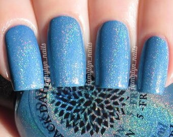 Cornflower blue holo nail polish by Black Dahlia Lacquer - Beach Hydrangea -- vegan, 5-free and handmade